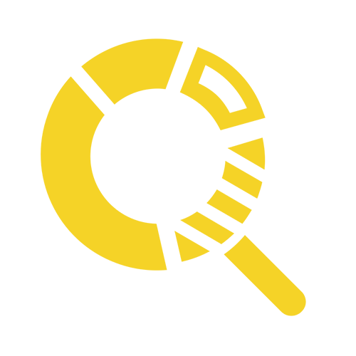 Yellow icon of pie chart that looks like a magnifying glass